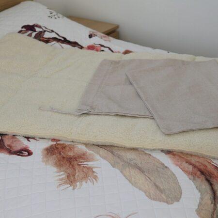 koc orgonowy 1x1,6 m ecru worek do przechowywania koca